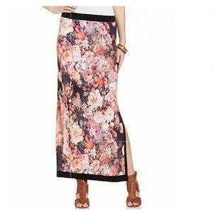 ECI Floral-print Side-Slit Maxi Skirt